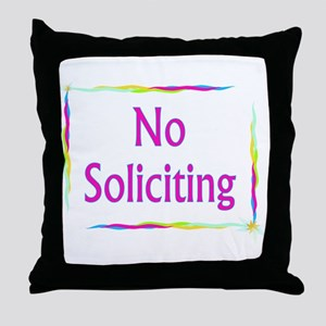 Rainbow No Soliciting Throw Pillow