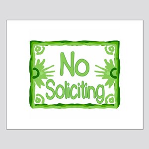 Green No Soliciting Small Poster