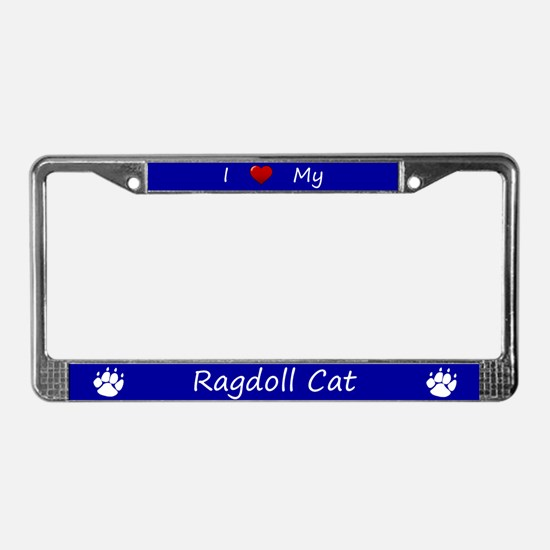 Blue I Love My Ragdoll Cat License Plate Frame