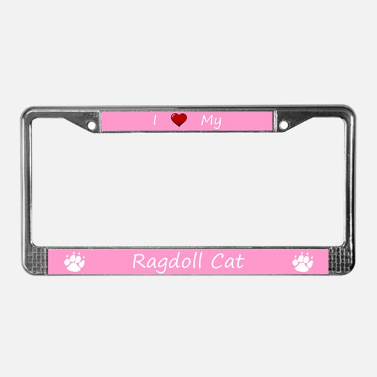 Pink I Love My Ragdoll Cat License Plate Frame