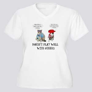 Doesn't Play Well Women's Plus Size V-Neck T-Shirt