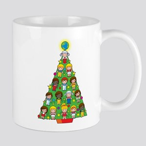 country children christmas tree mug