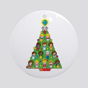 Country Children Christmas Tree Ornament (Round)