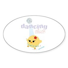 Dancing Chick Oval Sticker
