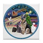 XmasMagic-GShep-2 Cats Tile Coaster