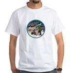 XmasMagic-GShep-2 Cats White T-Shirt