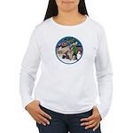 XmasMagic-GShep-2 Cats Women's Long Sleeve T-Shirt
