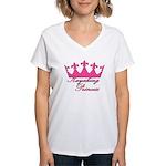 Kayaking Princess - Pink Women's V-Neck T-Shirt