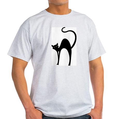 Retro Black Cat Ash Grey T-Shirt