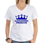 Geocaching Princess - Blue Women's V-Neck T-Shirt