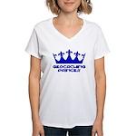 Geocaching Princess - Blue3 Women's V-Neck T-Shirt