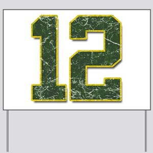 12 Aaron Rodgers Packer Marbl Yard Sign