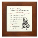 THEY are not Pugs (Smiling Frenchie) Framed Tile