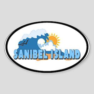 Sanibel Island FL - Waves Design Oval Sticker