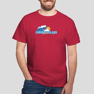 Sanibel Island FL - Waves Design Dark T-Shirt