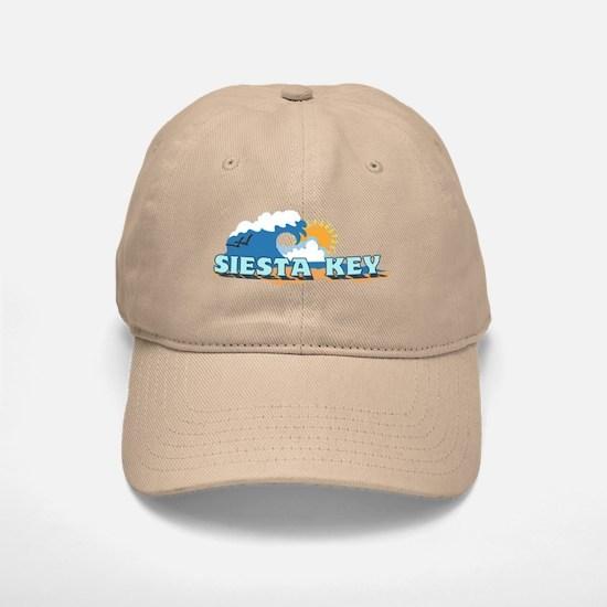 Siesta Key FL - Waves Design Baseball Baseball Cap
