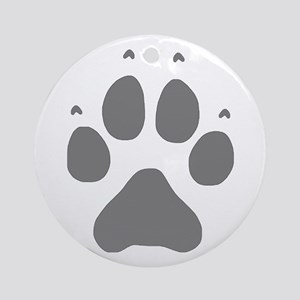 Wolf Paw Print Round Ornament