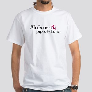 Alabama Pipes & Drums White T-Shirt