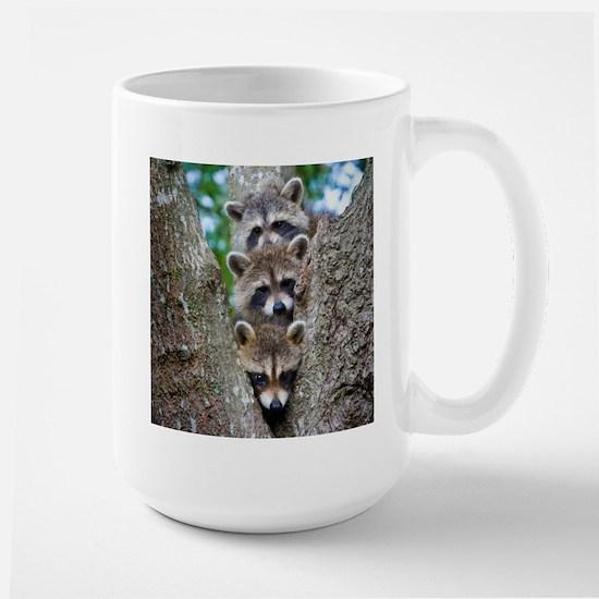 Baby Raccoon Trio Large Mug