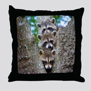 Baby Raccoon Trio Throw Pillow