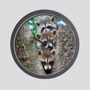 Baby Raccoon Trio Wall Clock