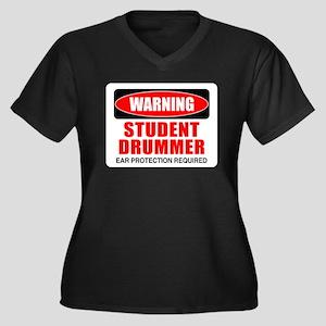 Student Drummer Women's Plus Size V-Neck Dark T-Sh