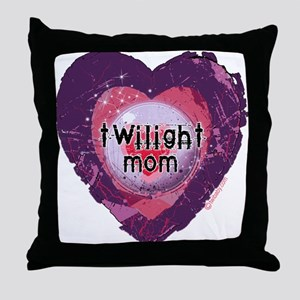 Twilight Mom Violet Grunge Heart Throw Pillow