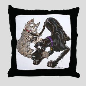 CBlk & Kitten Tail Play Throw Pillow