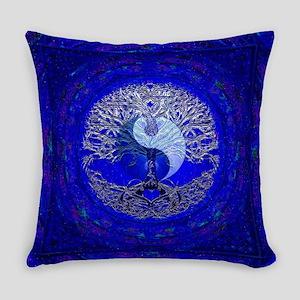 Blue Yin Yang Everyday Pillow