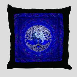 Blue Yin Yang Throw Pillow