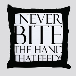 Bite the Hand that Feeds Throw Pillow