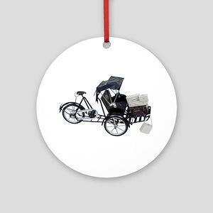 Rickshaw and luggage Ornament (Round)