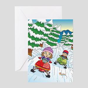 Fiaba's Snowmobile Adventure Greeting Card