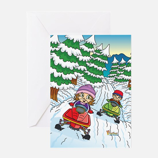 Fiaba's Snowmobile Adventure Greeting Card