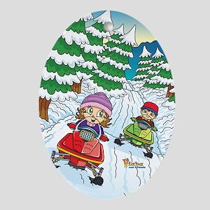 Fiaba's Snowmobile Adventure Oval Ornament