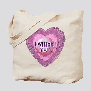 Twilight Mom Lilac Grunge Heart Crest Tote Bag