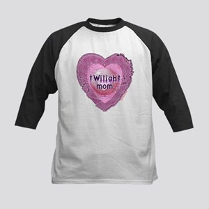 Twilight Mom Lilac Grunge Heart Crest Kids Basebal
