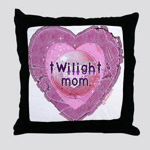 Twilight Mom Lilac Grunge Heart Crest Throw Pillow