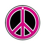 Pink Peace Sign Round Ornament