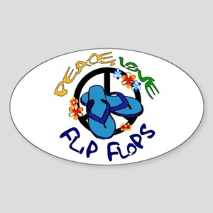 peace, love, flip-flops Oval Sticker