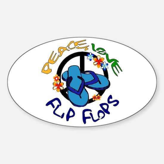 peace, love, flip-flops Oval Decal