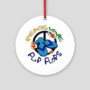 peace, love, flip-flops Ornament (Round)
