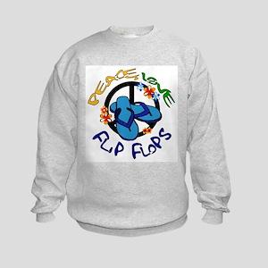 peace, love, flip-flops Kids Sweatshirt
