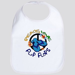 peace, love, flip-flops Bib