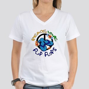peace, love, flip-flops Women's V-Neck T-Shirt