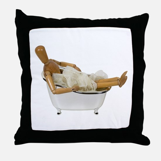 Relaxing in the bathtub Throw Pillow