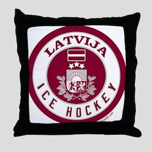LV Latvia/Latvija Hockey Throw Pillow