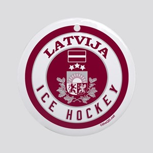 LV Latvia/Latvija Hockey Ornament (Round)
