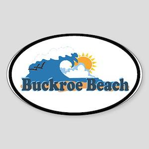 Buckroe Beach VA - Waves Design Oval Sticker