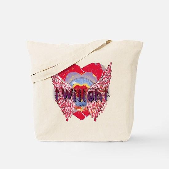 Twilight Mystic Crimson Heart Wings Tote Bag